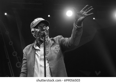 NIS, SERBIA-AUGUST 11, 2017: Alpha Blondy and Solar System famous reggae singer and songwriter on NisVille JAZZ festival in Nis, Serbia.