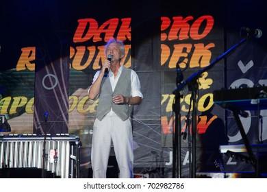 NIS, SERBIA-AUGUST 18, 2017: Darko Rundek famous Jazz singer on NisVille JAZZ festival in Nis