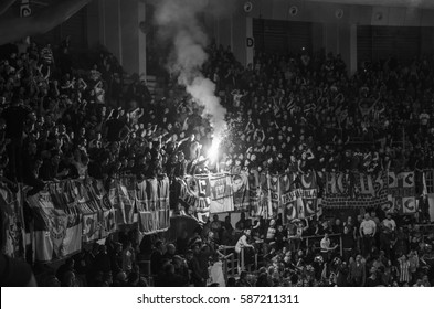 """NIS, SERBIA-FEBRUARY 2017: Derby in the final match of CUP """"Radivoje Korac""""  between the best Serbian basketball teams Crvena Zvezda (Red Star) and Partizan"""