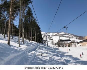 Niseko, Japan - March 5,2019 : The ski slope of Niseko Mt. Resort Grand Hirafu at Niseko, Hokkaido,Japan on March 5,2019.