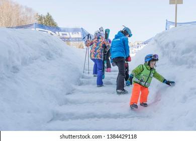 Niseko, Japan - March 5,2019 : Unidentified people playing ski at Niseko Mt. Resort Grand Hirafu at Niseko, Hokkaido,Japan on March 5,2019.