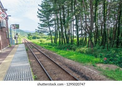 Nishitsugaru District, Aomori Prefecture/ Japan-August 4 2017: Juniko Train Station's railway in Aomori   Japan