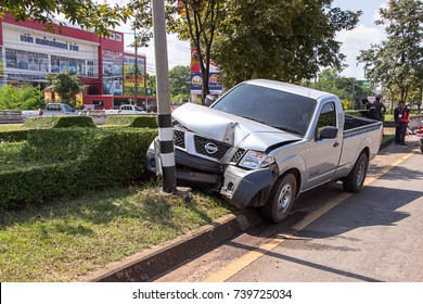 Nissan pickup truck accident hit roadside lamp at Muang District, Sakon Nakhon Province October 23, 2017.