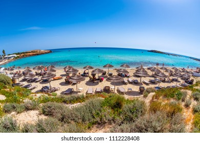 Nissi beach. Unrecognizable people on a hot summer day, Ayia Napa. Famagusta District, Cyprus.