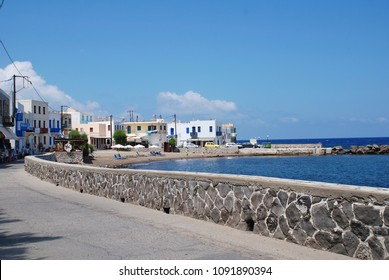 NISYROS, GREECE - JUNE 9, 2015: Looking towards the small beach at Mandraki on the Greek island of Nisyros. The island is best known for its still active volcano.