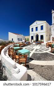 "NISYROS ISLAND, DODECANESE, AEGEAN SEA, GREECE- June 15, 2008. ""Porta"" square of Nikia village."