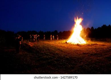 Nitaure, Latvia - june 23, 2009: Large fire in the celebration of midsummer holidays night (Ligo) in Latvia.