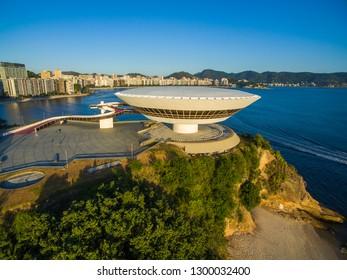 Niteroi city, Rio de Janeiro state / Brazil South America. - 01/27/2019 Description: MAC Niteroi. Museum of Contemporary Art of Niteroi. Architect Oscar Niemeyer.