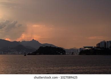 Niteroi city in Sunset