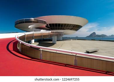 Niteroi, Rio de Janeiro / Brazil - October 31, 2018: Oscar Niemeyer's Contemporary Art Museum, a masterpiece of modern architecture, built in 1996.