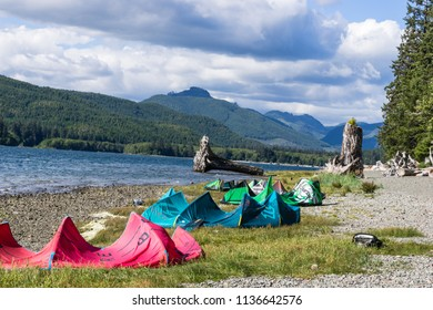 Nitinat Lake, Canada, June 26, 2018: Grounded kites at rest after