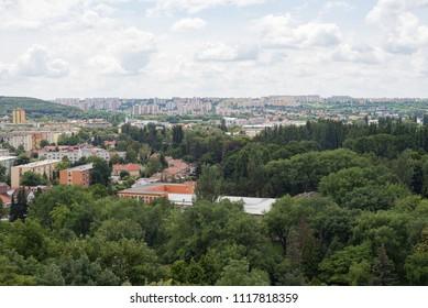 Nitra city skyline panorama aerial downtown church castle view, Slovakia