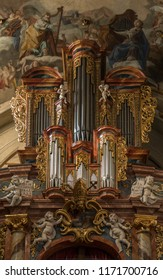 Nitra, Slovakia - 02.09.2018 - Ancient pipe organ in St. Emmeram's Cathedral