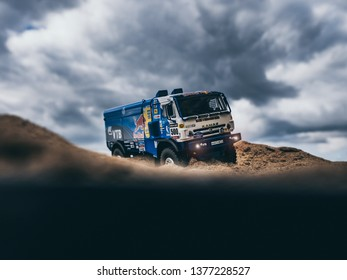 NITRA, SLOVAKIA - APRIL 19 2019: Scale model Kamaz 4326 Rally Dakar no.500 Nikolaev in desert. Truck on Rally Dakar. Truck Kamaz in desert. Scale model in sand.