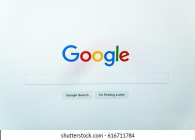 Nitra, Slovakia, april 7, 2017: Google website homepage on laptop screen