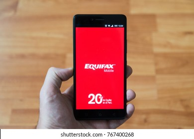 Nitra, Slovakia, december 12, 2017: Equifax mobile application starting page on smartphone