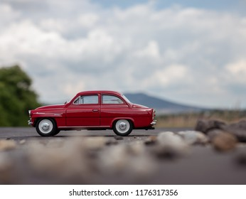 NITRA, SLOVAKIA - JUNE 03 2018: Scale model SKODA Octavia on the road. Classic car SKODA Octavia closeup photo. Retro car on the way.