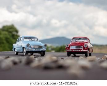 NITRA, SLOVAKIA - JUNE 03 2018: Two scale models SKODA Octavia on the road. Classic cars SKODA Octavia closeup photo. Retro cars on the way.