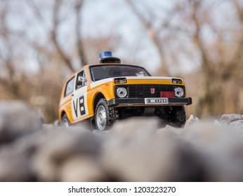 NITRA, SLOVAKIA - MARCH 03 2018: Scale model Lada Niva Verejna Bezpecnost 1988. Police car from Czechoslovakia. Off-road police car.