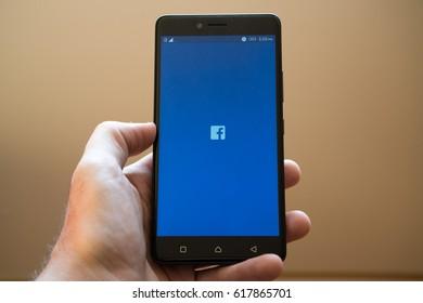 Nitra, Slovakia, March 20, 2017: Facebook application logo on smartphone
