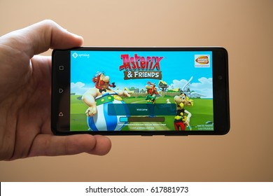 Nitra, Slovakia, March 20, 2017: Asterix and friends application logo on smartphone