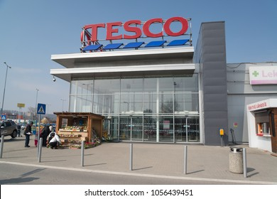 Nitra, Slovakia, march 28, 2018: Tesco supermarket. Tesco PLC is a British multinational grocery and general merchandise.