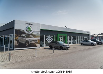 Nitra, Slovakia, march 28, 2018: Skoda auto store in Nitra, Slovakia. Skoda is part of Volkswagen Group which is the biggest German automaker