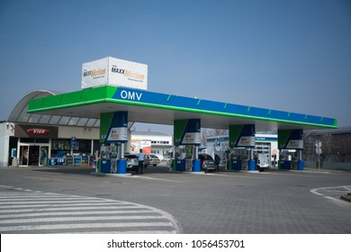 Nitra, Slovakia, march 28, 2018: OMV petrol filling station. OMV was founded in 1956 and is the largest oil industry company in Austria