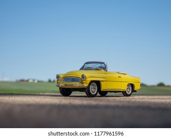 NITRA, SLOVAKIA - MAY 13 2018: Scale model SKODA Felicia on the road. Classic car SKODA Felicia closeup photo. Retro car on the way. Roadster on the road in summer day. Summer trip on cabriolet.