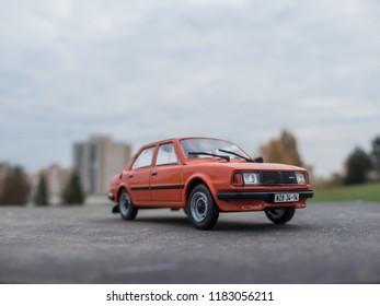 NITRA, SLOVAKIA - NOVEMBER 01 2017: Scale model SKODA 120 LS in the city. Classic car SKODA 120 LS closeup photo. Retro race on the way. Historic car.