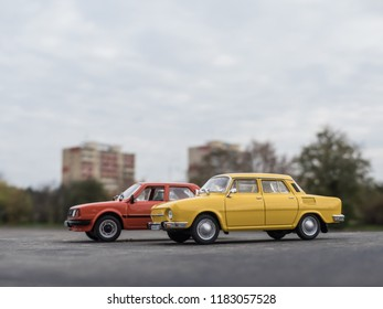 NITRA, SLOVAKIA - NOVEMBER 01 2017: Scale modela SKODA 120 LS and SKODA 110 in the city. Classic car SKODA 120 LS and SKODA 110 closeup photo. Retro cars on the way. Historic cars.