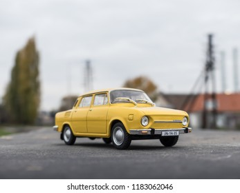 NITRA, SLOVAKIA - NOVEMBER 01 2017: Scale model SKODA 110 in the city. Classic car SKODA 110 closeup photo. Retro race on the way. Historic car.