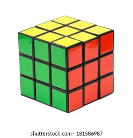 Nitra, Slovakia - November 17, 2013: Rubik's cube on a white background. Rubik's Cube invented by a Hungarian architect Erno Rubik in 1974.