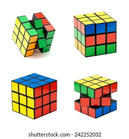 Nitra, Slovakia - November 17, 2013: Variation of the Rubik's cube on a white background. Rubik's Cube invented by a Hungarian architect Erno Rubik in 1974.