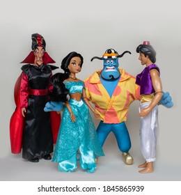 """Nitra, Slovakia - October 17, 2020: Children's toys - the main characters of the cartoon """"Aladdin"""" (Disney)"""