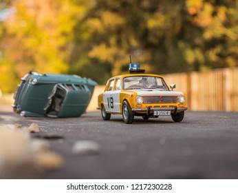 NITRA, SLOVAKIA - OCTOBER 18 2018: Scale model Lada UAZ 1200 Verejna Bezpecnost 1978. Police car from Czechoslovakia. Police car by car accident.