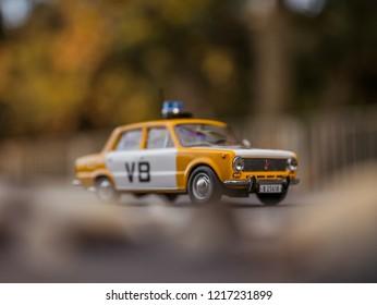 NITRA, SLOVAKIA - OCTOBER 18 2018: Scale model Lada UAZ 1200 Verejna Bezpecnost 1978. Police car from Czechoslovakia.