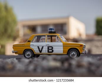 NITRA, SLOVAKIA - OCTOBER 18 2018: Scale model Lada UAZ 2103 Verejna Bezpecnost 1978. Police car from Czechoslovakia.
