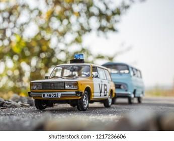 NITRA, SLOVAKIA - OCTOBER 18 2018: Scale model Lada UAZ 2104 Verejna Bezpecnost 1978. Police car from Czechoslovakia. Police car by car accident.