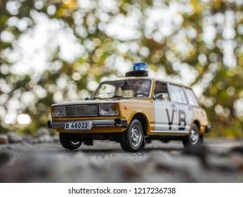 NITRA, SLOVAKIA - OCTOBER 18 2018: Scale model Lada UAZ 2104 Verejna Bezpecnost 1978. Police car from Czechoslovakia.