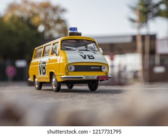 NITRA, SLOVAKIA - OCTOBER 18 2018: Scale model SKODA 1203 Verejna Bezpecnost 1978. Police car from Czechoslovakia.