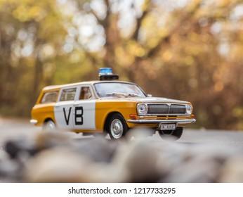 NITRA, SLOVAKIA - OCTOBER 18 2018: Scale model Volga Gaz 24 Verejna Bezpecnost. Police car from Czechoslovakia.