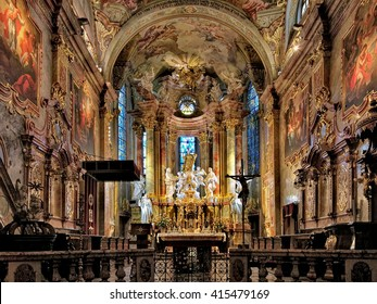 NITRA, SLOVAKIA - OCTOBER 8, 2015: Interior of the St. Emmeram's Cathedral. The cathedral is the oldest diocesan church in Slovakia. First church on this place was consecrated ca 830.