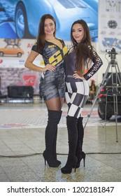 NITRA, SLOVAKIA-OCTOBER 13,2018: Beautiful caucasian hostesses present at the International Agrokomplex Car show - Motor show Fair on october 13, 2018 in Nitra, Slovakia. Editorial.