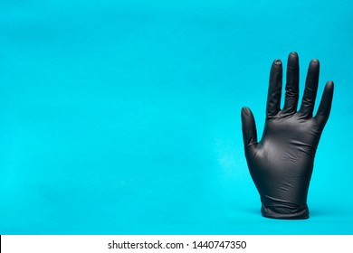 Nitrile gloves. Hand of a medic in the latex gloves