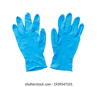 Nitrile gloves placed on a white background. View from directly above.