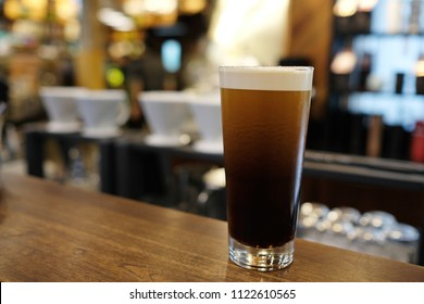 Nitro cold brew coffee, is cold brew coffee charged with nitrogen to give it a rich, creamy head, similar to nitro draft beer like Guinness. Though many lighter beers are infused with carbon dioxide.
