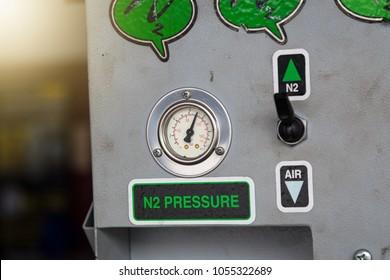 Nitrogen tire filling system machine in a garage. Nitrogen Air Pump.