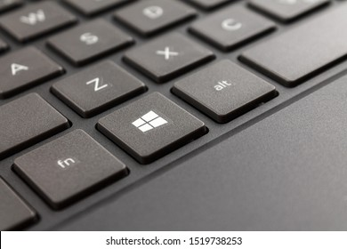 Nizhniy Novbgorod/Russia - 09.27.2019laptop keyboard of computer running Windows 10 operating system, close-up macro start key