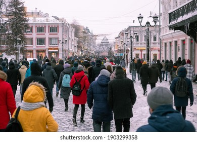 Nizhniy Novgorod, Russia- January 23 2021: Protest against Putin and his friends,rally in defense of Alexei Navalny